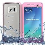 Samsung Galaxy S7 Edge Wasserfeste Hülle, IP68 Zertifiziert 360 Grad Ganzkörperabdeckung mit Anti-Kratzer eingebautem Displayschutz Stoßfest Schutzhülle Handytasche für Samsung Galaxy S7 Edge (Rosa)