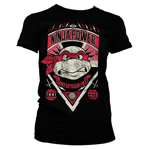 Turtles Damen Ninja T Shirt (TMNT Ninja Power Official Women T-Shirt (Black),)