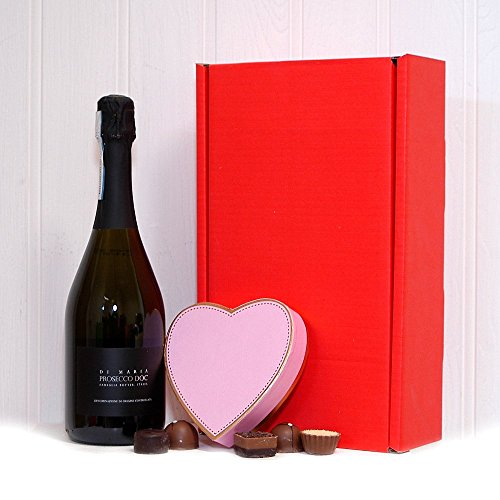 Valentines Day Prosecco Wine & Heart Chocolate Gift Box Romantic Gift for Her - Includes 750ml Di Maria Italian Prosecco Wine & Belgian Chocolates by Fine Food Store
