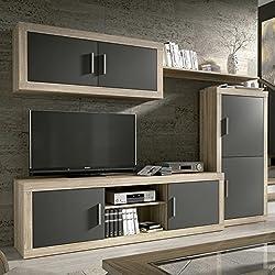 HomeSouth - Mueble de comedor, salon modelo Ambar, acabado color Cambria y Grafito, medidas: 248 cm de ancho
