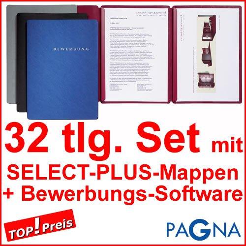 9 dreiteilige Bewerbungsmappen BLAU + 9 DIN B4 Versandtaschen + 10 Adressetiketten + Etikettenvorlage + Bewerbungssoftware + Extras