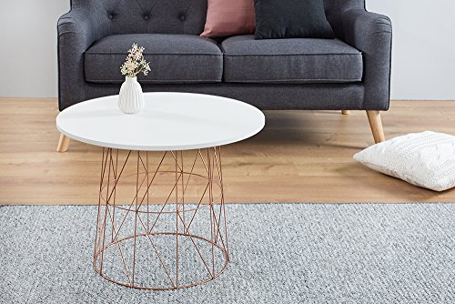 Moderner Couchtisch Beistelltisch WIRE TEA TABLE Metallgestell In Kupfer  Tischplatte In Weiß Metallkorb Wohnzimmertisch Skandinavisches Design ...