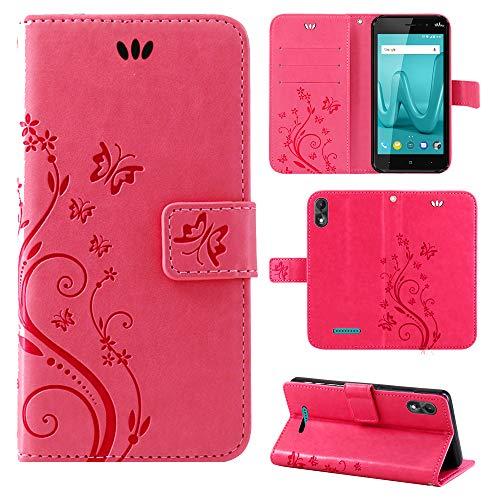 betterfon | Wiko Lenny 4 Plus hülle Flower Case Handytasche Schutzhülle Blumen Klapptasche Handyhülle Handy Schale für Wiko Lenny 4 Plus Pink