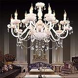 ZBSNDA Lampadari di cristallo bianchi moderni di stile europeo per i candelieri principali del cristallo del salone per la decorazione di nozze dei candelieri della stanza, 6 luci