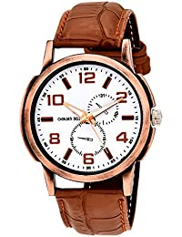 Golden Bell Original White Dial Tan Brown Strap Analog Wrist Watch For Men - GB-724