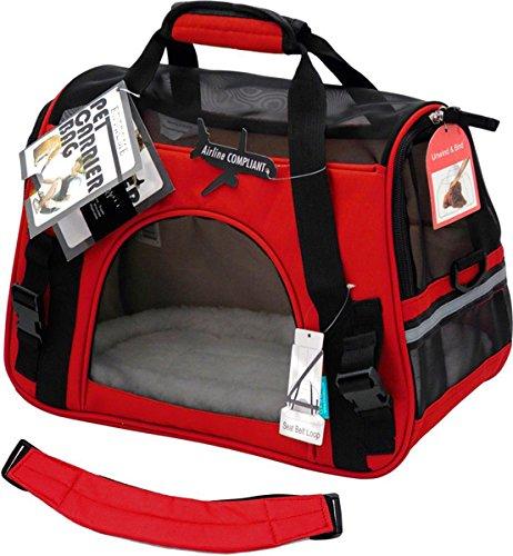 Transporttasche Reisetasche Hund Katze Hase Kaninchen andere Kleintiere mit Flugzulassung (Rot)