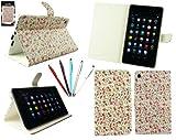 Emartbuy® Asus Google Nexus 7 2 II Tablet (Lanciata Luglio 2013) Bundle 5 Doppia Funzione Stylus + Floreale Rosa Wallet Case Custodia Cover Desktop Stand