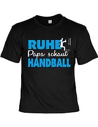 Handball Sport T-Shirt Vater RUHE PAPA SCHAUT HANDBALL Geschenke Idee TV Fernsehen Hobby Handballfan bedruckt Spruch : )
