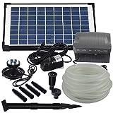 Agora-Tec® AT-Solar Bachlaufpumpen - Set 10W-BLH mit Akku und 6- fach LED Ring inklusive 9 Meter Bachlaufschlauch und LED Halterung, Hmax.: 600l/h Förderhöhe: 2,45 m bei Verwendung eines Schlauches