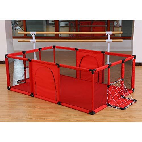 itter, faltbar & kompakt, tragbarer Spielcenter-Zaun mit atmungsaktivem Mesh für Kleinkinder, Innen- und Außenbereich, Fußballrahmen + Kriechmatte (180 * 120 cm) (Farbe : C) ()