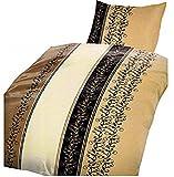 Leonado Vicenti 4-Teilige Bettwäsche Set 2X Bettbezug 135x200cm 2X Kissenbezug 80x80cm Geblümt Blätterranke Creme Sand Braun