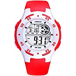 Digital-analog Boys Girls Luminous Sport Digital Watch with Alarm Stopwatch Chronograph - 50m Water Proof(Red)