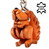 Red Squirrel Ernie - Key-ring Figurine made of leather in 3d Design by Monkimau - your best friend. Always with you! Category walnut squirrel family gruffalo cuddly soft toy yoohoo and friends - about 2cm, each 1 piece (nature brown small)