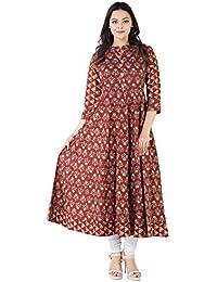 Khushal Women's Cotton Printed Party Wear Anarkali Kurta