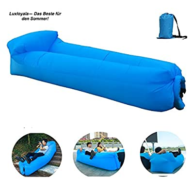 Inflatable Lounger, 2017 New PILLOW FEATURE, Air Lounger Hangout Bag Air Chair Lazy Lounger Air Hammock Inflatable Couch Lazy Bag Laybag,Hangout Sofa (Blue) - cheap UK light store.