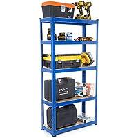 Racking Solutions - Estantería / Estante del garaje/ Sistema de almacenamiento de acero, cargas pesadas, capacidad de carga total 1375kg (5 niveles 1800mm Al x 900mm An x 300mm Pr) + Envío gratis