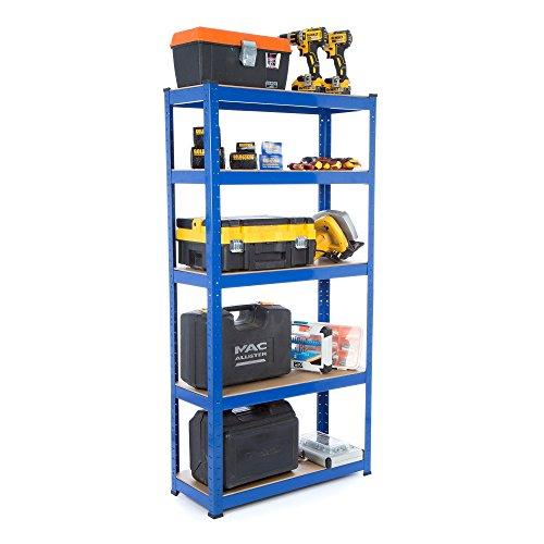Racking-Lösungen 1.5m 5 Tier Garage Regale Racking Utility Heavy Duty Industrielle Stahl & MDF Boltless Racking Regal - Massive 825 kg Kapazität 150cm H 75cm B 30cm D - Boltless-5 Regal