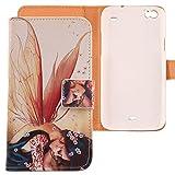 Lankashi PU Flip Leder Tasche Hülle Case Cover Schutz Handy Etui Skin Für WIKO Darkside Wing Girl Design