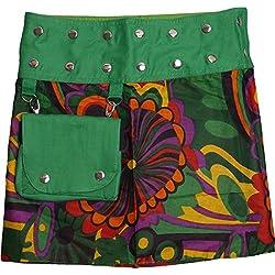 ufash Minifalda en Colores de Moda con Botones automáticos, Estampado 21