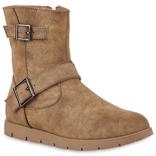 Stiefelparadies Damen Schuhe Biker Boots Gefütterte Stiefeletten Wildleder-Optik Stiefel 147850 Khaki 37 Flandell