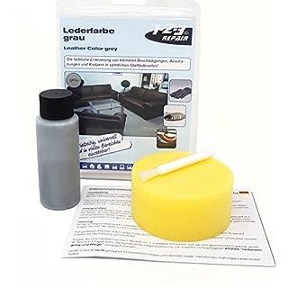 1-2-3 REPAIR Lederfarbe Schwamm und Pinsel Farbauffrischer Lederfärbemittel Grau 57ml