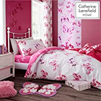 Catherine Lansfield Butterfly Easy Care Single Duvet Set Pink