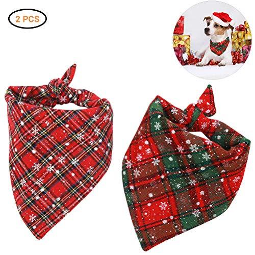 TAIPPAN Weihnachten Hundebandana, 2 Stück Plaid Schneeflocke Haustier Schal Dreieck Lätzchen Halstuch Set Haustier Kostüm Zubehör für große kleine mittlere Hunde Katzen Haustiere
