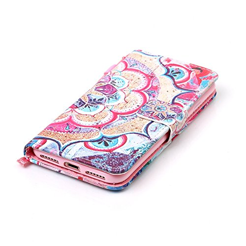 Hülle für iPhone 7, Tasche für iPhone 7, Case Cover für iPhone 7, ISAKEN Malerei Muster Folio PU Leder Flip Cover Brieftasche Geldbörse Wallet Case Ledertasche Handyhülle Tasche Case Schutzhülle Hülle Blume Bunt