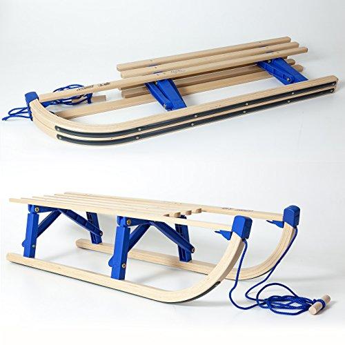 HolzFee / VT-Sport Klappschlitten 100cm mit Leine/Tourer Blue/Kinderschlitten klappbar