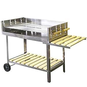 Barbecue à charbon en acier inoxydable avec chariot 145 x 92 x 60cm