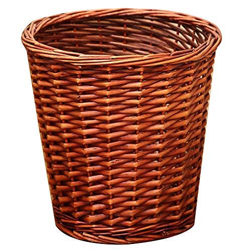 YANZHEN Mülleimer Offener Entwurf Handgemachte Desodorierungs-Abfallpapier-Korb-abriebfester Rattan, 3 Farben (Color : Beige, Size : 28x28cm) -