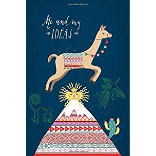 Me and my ideas: Lama notebook, A5, approx. 15 x 23 cm, 80 pages, dotted, with handlettered header, index, sketchbook, Miri D illustrations
