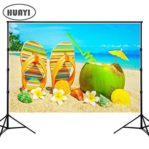 (HuaYi Fotografie Hintergrund Sommer, Sonne Natur Strand Thema Party Hintergründen Blue Sky Palme Photo Booth Hintergrund für Bilder Baby Dusche)