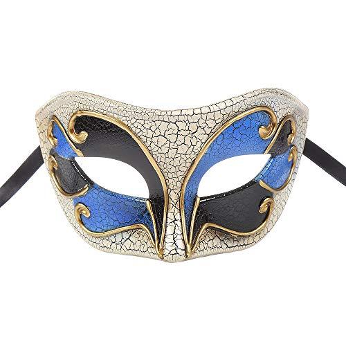 BLEVET Retro Venezianische Maskerade Maske Party Mardi Gras Venedig Prinzessin Halloween Karneval MZ057 (Blue)
