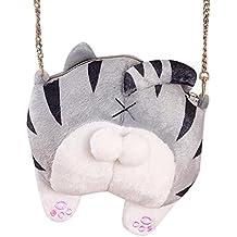 LuckES Bolso de hombro de felpa Linda Cartera de Felpa Tarjeta de Culo de Gato para Mujeres Chicas Colorido elegante cute llavero bolso de mano Pequeño Bolso de la Felpa de la Felpa Suave