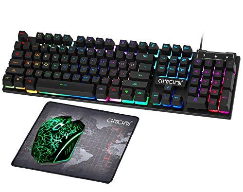 0801c3a842d Gaming LED Wired Keyboard and Mouse Combo with Emitting Character 3200DPI  Usb Mouse Multimedia Keys Rainbow