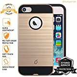 Mangomask Apple iPhone 5 Back Case Cover, Apple iPhone 5s Back Case Cover, Apple iPhone SE Back Case Cover Brushed Hybrid Armor Series - Gold