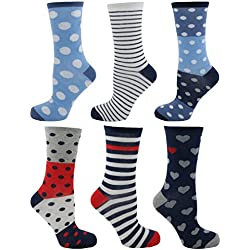 Pack de 6 calcetines Tom Franks, de mujer, de diseño, algodón, talla única Rojo Red & Blue Mix 37-40