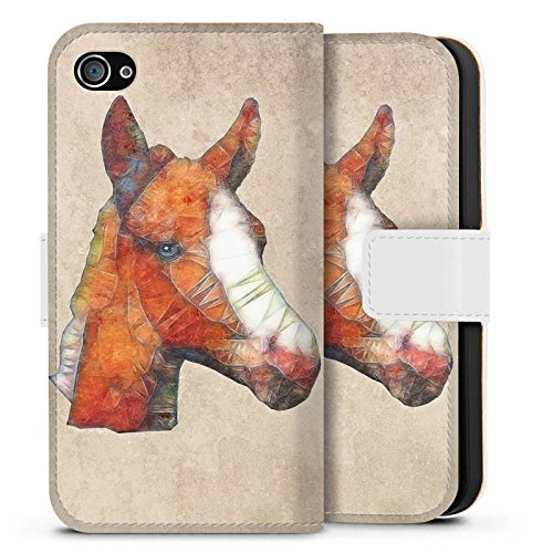Apple iPhone X Silikon Hülle Case Schutzhülle Pferd Fohlen Ponny Sideflip Tasche weiß