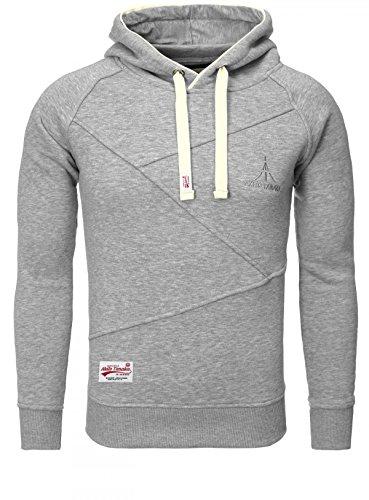 AKITO TANAKA Herren Sweatshirt 18103 Sweater Pullover mit Kapuze Stehkragen slim fit, Grösse:XXL;Farbe:Grau