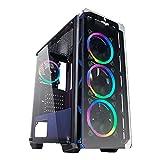 Noua Cool G4 - Caja para Ordenador ATX Gaming 0,60 mm SPCC 4 Ventiladores Dual Halo RGB Rainbow Front Tempered...