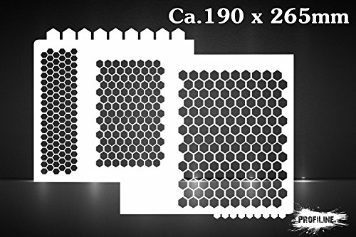 Waben Muster Airbrush Schablone - Honeycomb Stencil -