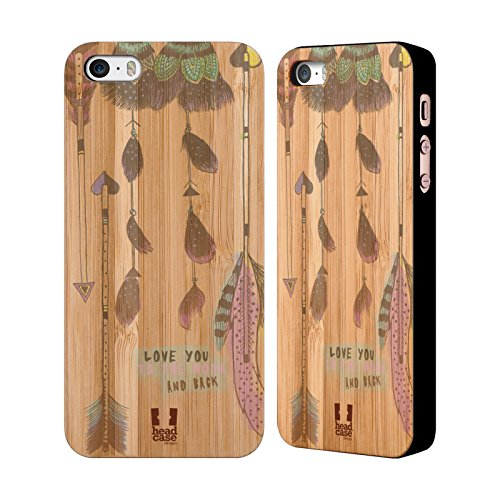 Head Case Designs Azteke Tribal Federn Hülle mit Rückseite aus Bambus Holz für Apple iPhone 6 / 6s Love You To The Moon And Back