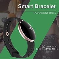 bjessence 1pieza inteligente pulsera correa de muñeca Fitness Tracker pulsera impermeable Deporte banda para muñeca presión arterial Monitor corazón tasa//podómetro/sueño/llamada reminderâ, color negro