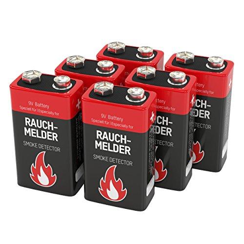 6 ANSMANN Alkaline Rauchmelder Batterie, 9V / 7 Jahre lagerfähige Brandmelder Batterie / E-Block Premium Qualität für höhere Leistung, Ideal für Feuermelder, Alarmanlagen & medizinische Geräte