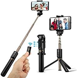 Palo Selfie Trípode con Control Remoto para iPhone 6 6s 7 7plus Android Samsung Galaxy de 3.5-6 Pulgadas - BlitzWolf 3 en 1 Monópode Extensible Mini Selfie Stick Bolsillo Inalámbrico 360° Rotación