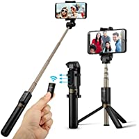 Bluetooth Selfie Stick Stativ, BlitzWolf 3 in 1 Erweiterbar Monopod Wireless Selfie-Stange Stab 360° Rotation mit Bluetooth-Fernauslöse für iPhone Android Samsung 3.5-6 Zoll Smartphones(Schwarz)
