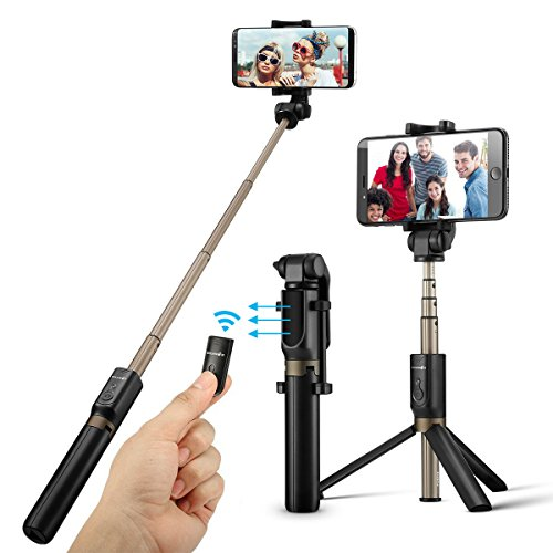 Bluetooth Selfie Stick Stativ, BlitzWolf Selfie-Stange Stab mit Bluetooth-Fernauslöse für iPhone X/ 8/ 7/ 7 plus/ 6s/ 6 Android Samsung Galaxy 3.5-6 Zoll Bildschirm- 3 in 1 Erweiterbar Monopod Mini Pocket Wireless Selfie Stick 360° Rotation (schwarz)
