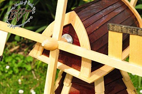 xxl-holz-windmuehle-designer-gartenwindmuehle-130-cm-einstoeckig-wms-ra130-du-os-klassik-mit-balkon-rand-fenster-dunkelbraun-voll-funktionstuechtigschoene-details-fensterkreuz-deko-windmuehlen-ou