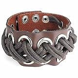 AnaZoz Acier Inoxydable Homme Bracelet Rock 7.5-8.5 Pouce Bangle Corde Cuir Tressé Marron
